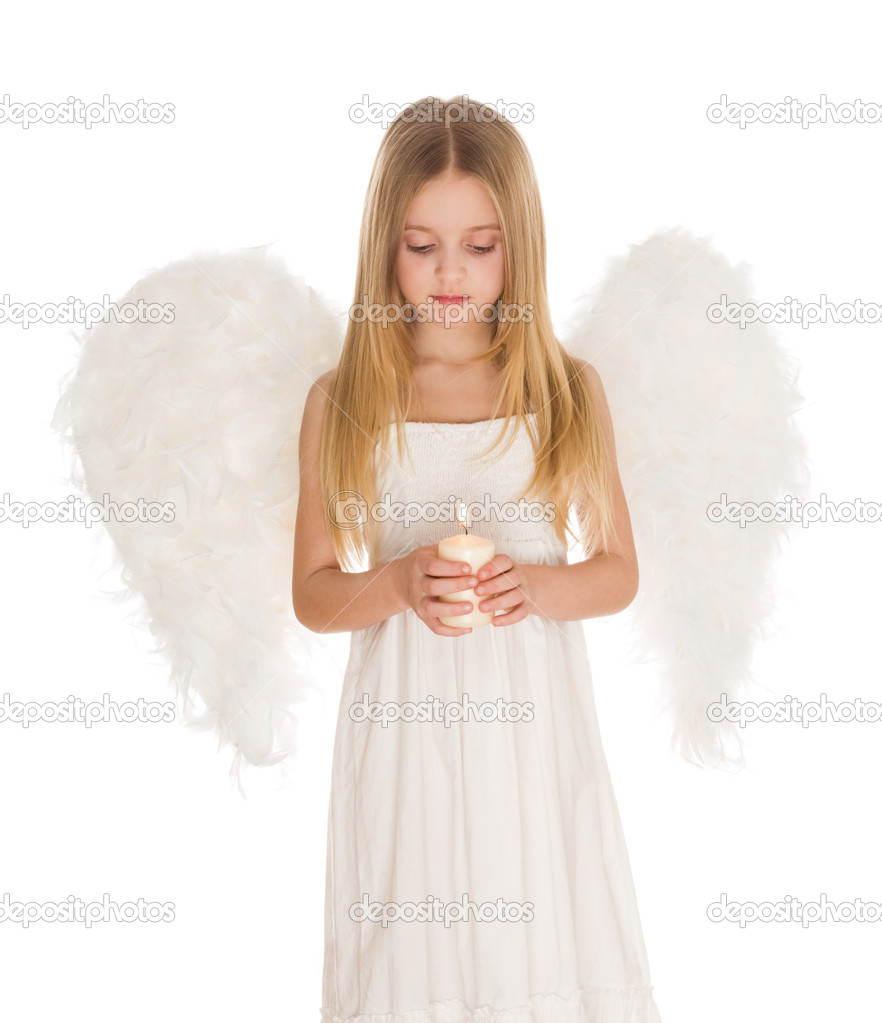 Portrait of white angel holding burning candle and looking at it over light background — Stok fotoğraf #10713180