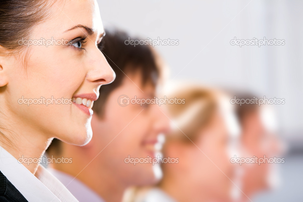 Row of half faces of young successful professionals — Stock Photo #10714990