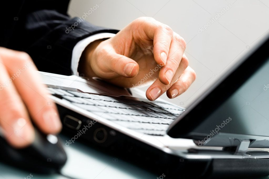 Image of human hands doing some computer work — Stock Photo #10715299