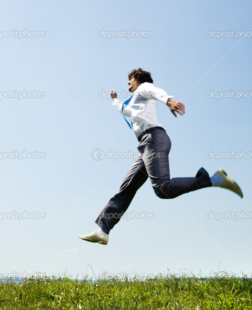 Image of hastening businessman running to business meeting — Stock Photo #10716218