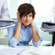 Perplexed secretary — Stock Photo