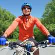 Male on bicycle — Stock Photo