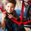 Boy with mountain bike - Foto Stock