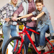 Family of bikers — Stock Photo