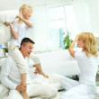 Family pillow fight — Stock Photo