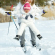 Skiing together — Stock Photo
