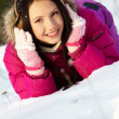 Girl on snow — Stock fotografie