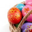 Easter eggs in basket - Stock Photo