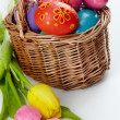 Eggs and tulips - Stock Photo