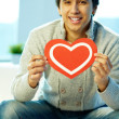 Man with heart — Stock Photo