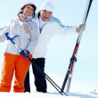 Mature skiers — Stock Photo
