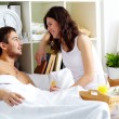 Chatting in bed — Stock Photo #10734952