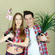 Couple with plants - Foto Stock