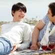 Wine and lovers — Stock Photo