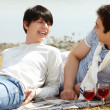 Stock Photo: Wine and lovers