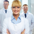 Female leader of scientific team — Stock Photo #10735207
