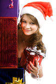 Girl and presents — Stock Photo