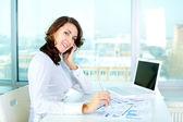 Mujer de negocios alegre — Foto de Stock
