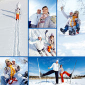 Skiers in park — Stock Photo