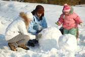 Making snowman — Stock Photo