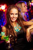 Girl at bar — Stock Photo