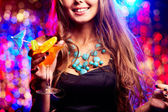 Girl in night club — Stock Photo