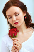 Smell of rose — Stock Photo