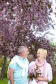 Couple in the garden — Stock Photo