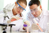 Checking up chemical reaction — Stock Photo