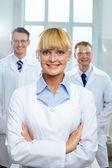 Líder feminina da equipe científica — Foto Stock