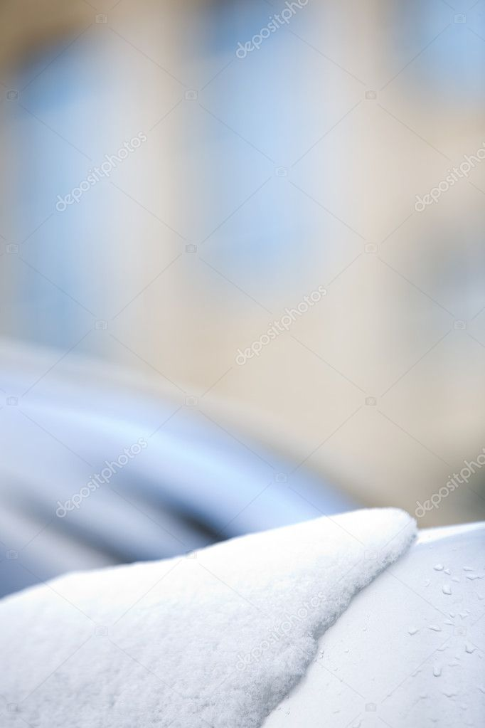 Close-up of snow lying on white round smooth surface in winter — Stock Photo #10730059