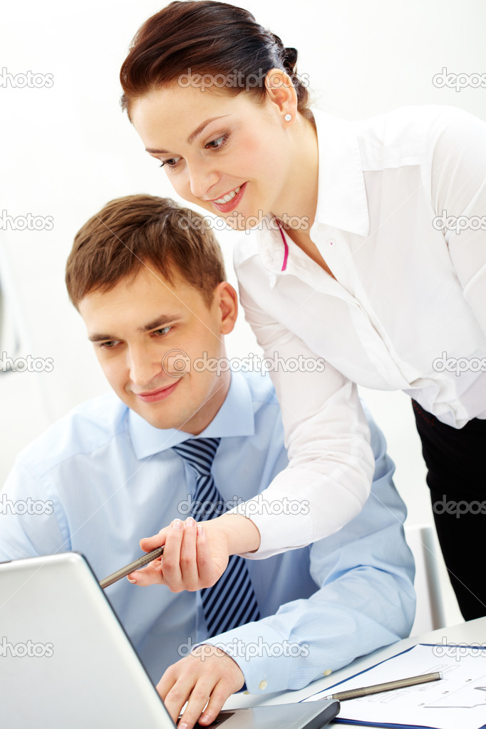 Portrait of busy companions discussing new business strategy at meeting — Stock Photo #10731901