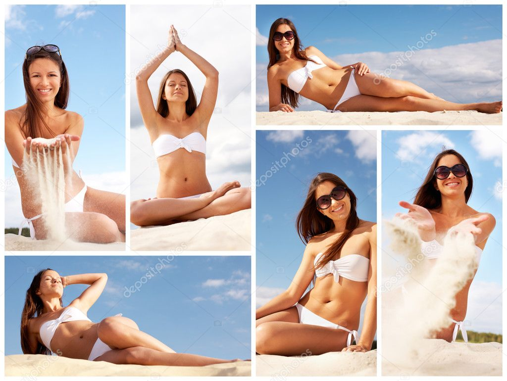 Collage of female in white bikini relaxing on sandy beach — Stock Photo #10732667