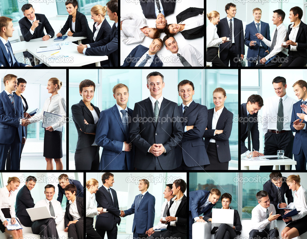 Business collage composed of nine photos of business — Stock Photo #10732676