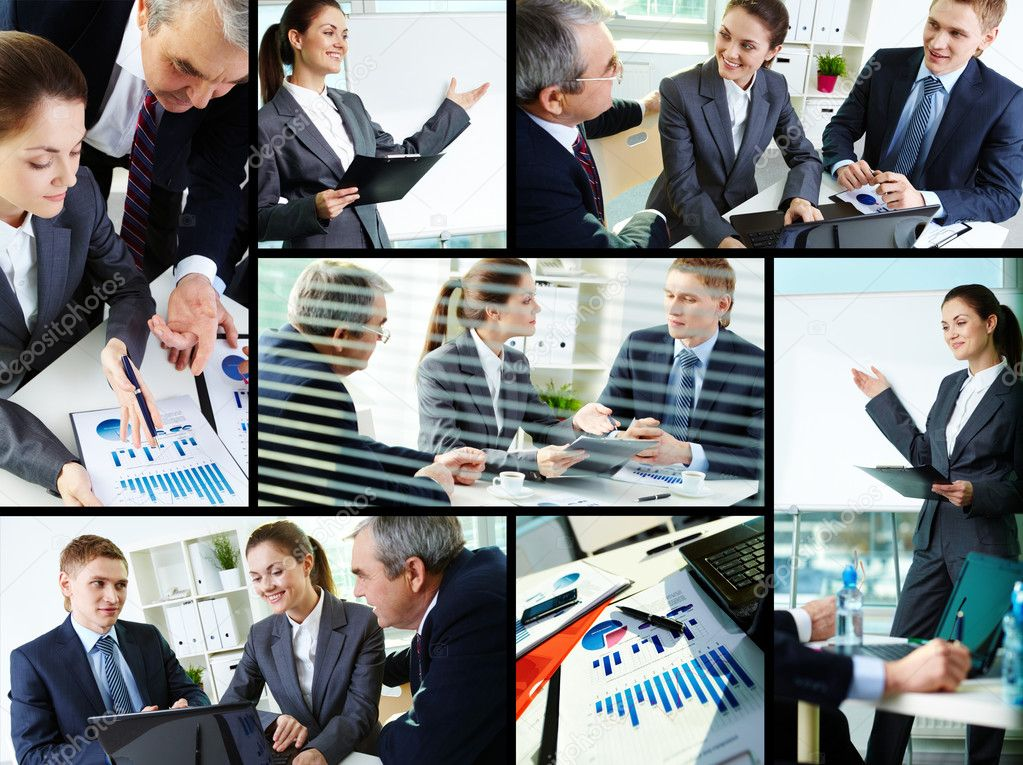 Collage of busy discussing new project at meeting in office — Stock Photo #10732716