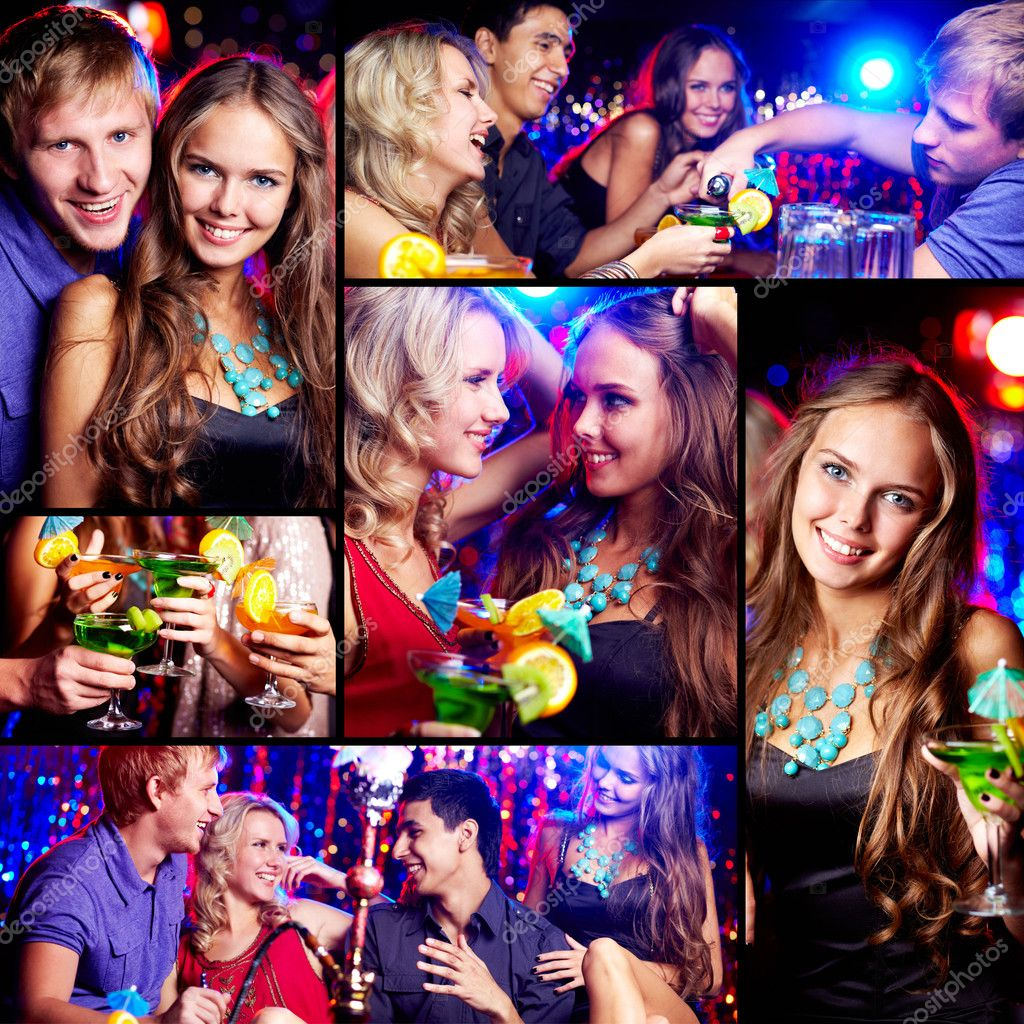 Collage of happy friends having fun at party — Stock Photo #10732815