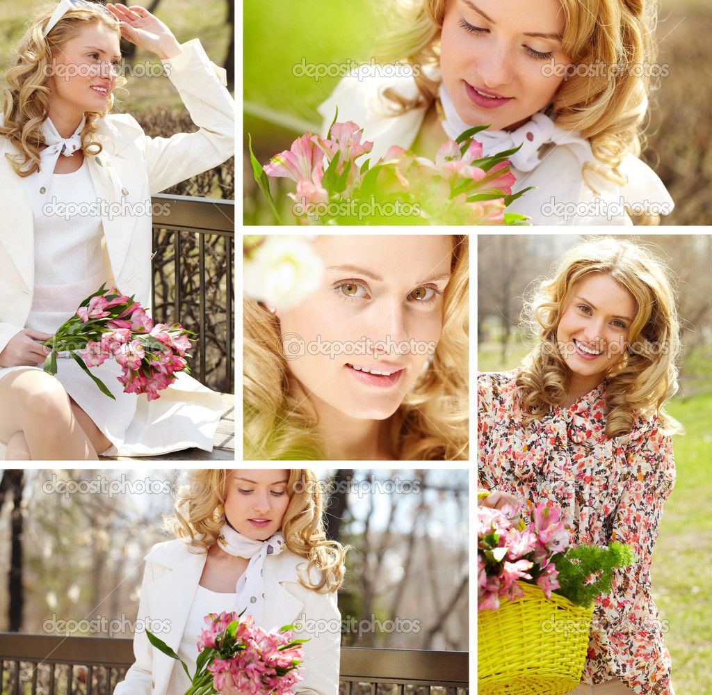 Collage of a young cheerful woman with flowers  — Stock Photo #10732843