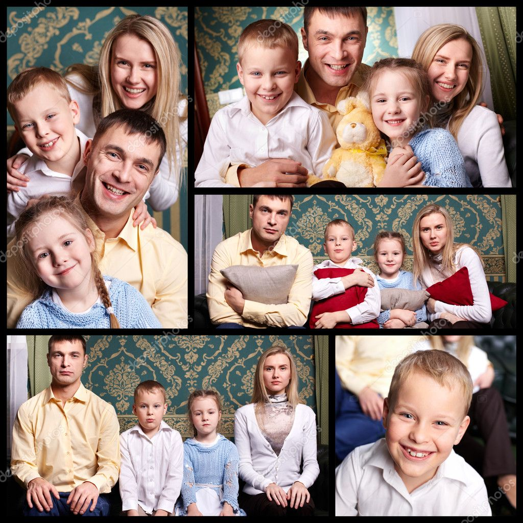 Collage of cheerful family looking at camera — Stock Photo #10732878