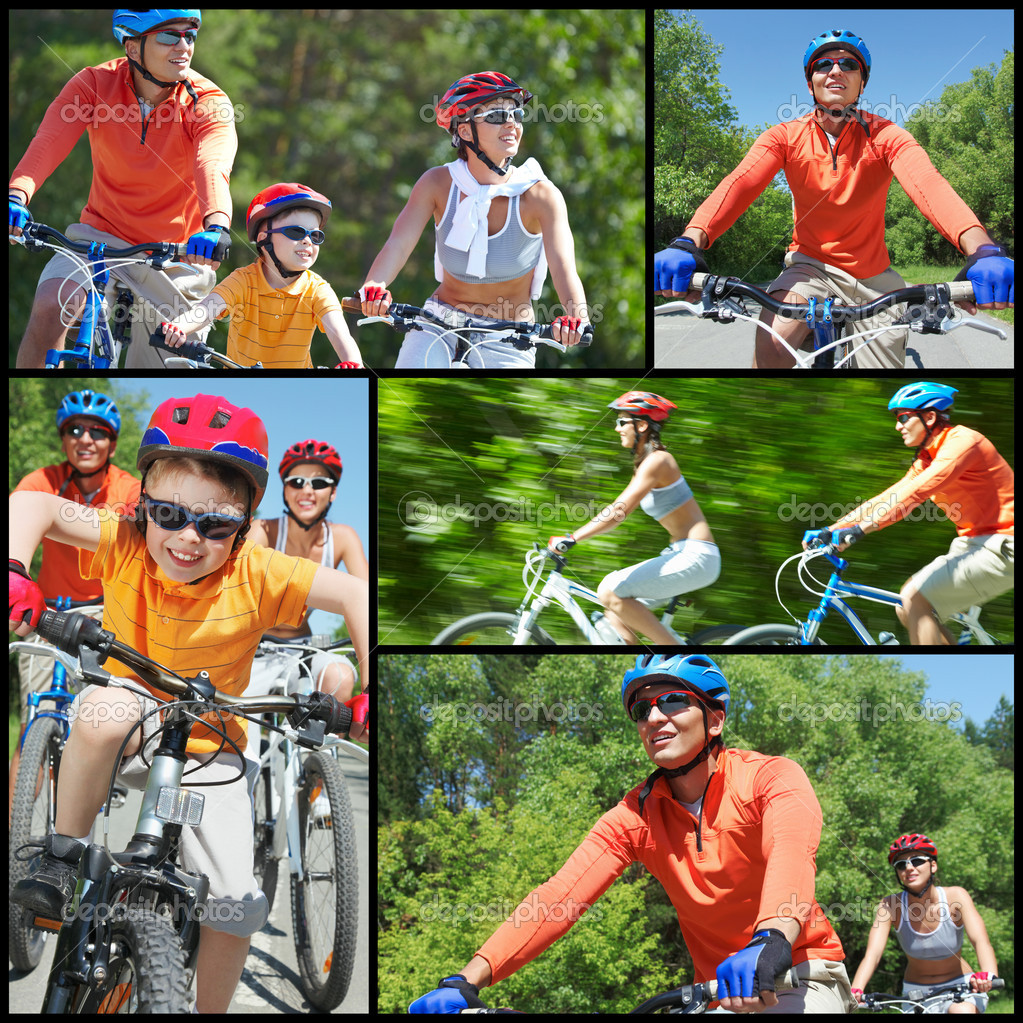 Collage of happy family riding on bicycles at leisure  Stock Photo #10732881
