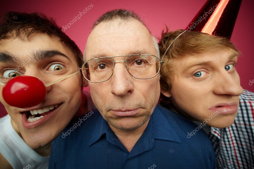 Three april fools looking at camera with different facial expressions — Stock Photo #10733622