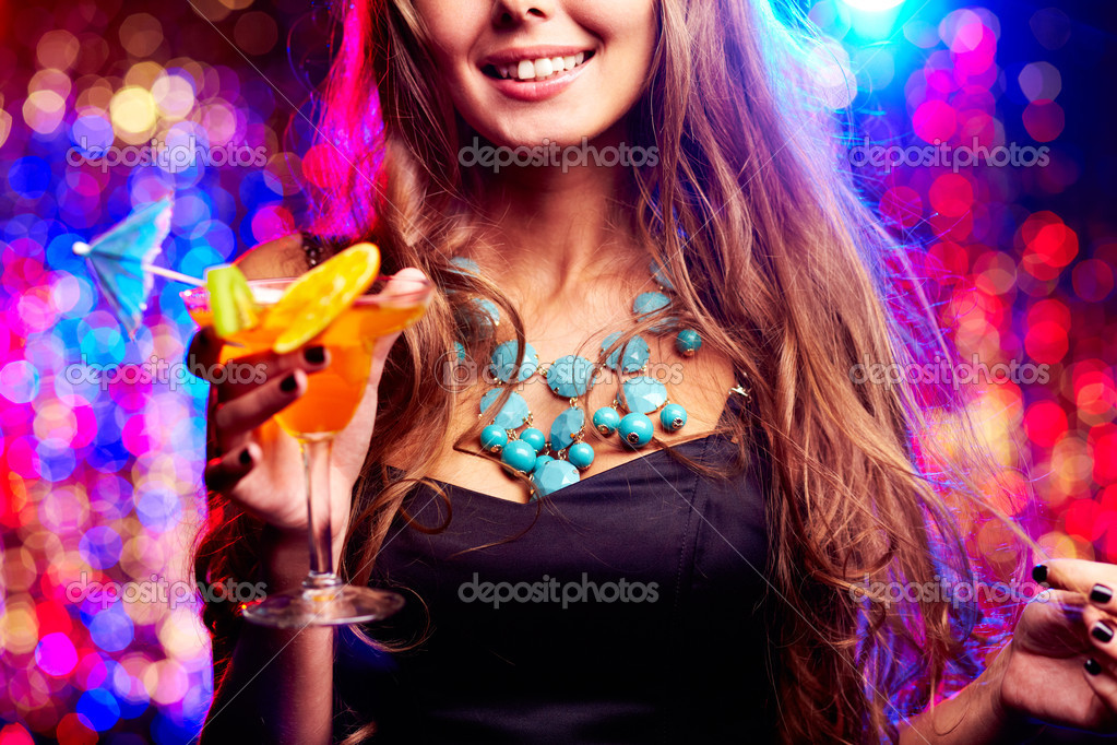 Image of happy girl with cocktail in the night club — Stock Photo #10734040