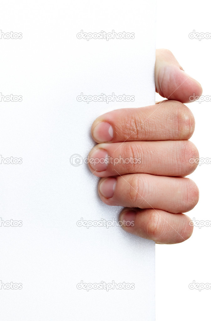 Image of human hand holding empty poster in isolation — Stock Photo #10734253