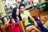 Shoppers communicating — Stock Photo