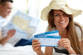 Woman with tickets — Stockfoto
