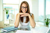 Business lady in eyeglasses — Stock Photo