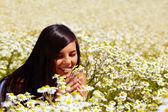 Among flowers — Stock Photo
