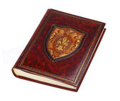 Big brown vintage leather book — Stock Photo