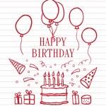 Doodle Happy Birthday — Stock Vector