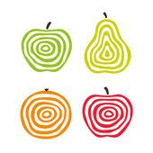 Frutas estilizadas — Vector de stock