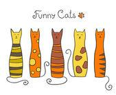 Five cats — Stock Vector